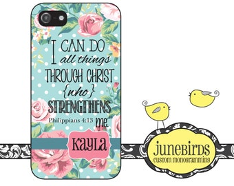 Personalized iPhone 6, iPhone 5/5s and iPhone 4/4s Cell Phone Case - Philippians 4:13 Vintage Floral