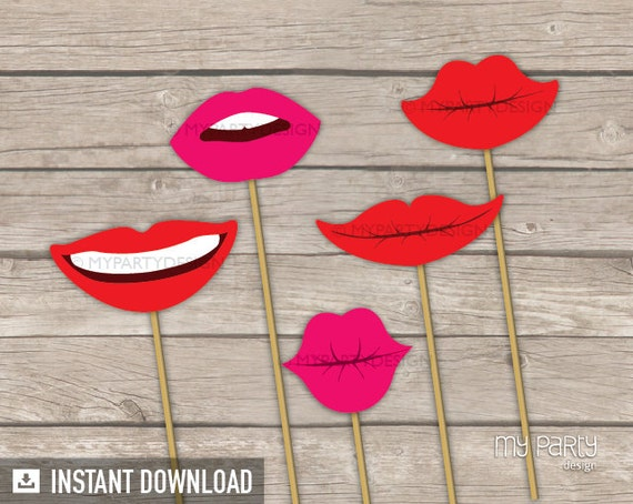 Photo Booth Props - PRINTABLE Lips - Props on a Stick - INSTANT DOWNLOAD