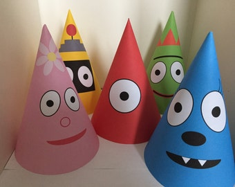 INSTANT DOWNLOAD - Yo Gabba Gabba Party Hats, Printable Birthday Hats