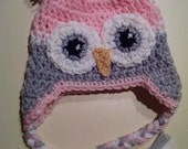 Baby Girl Owl hat with Earflaps Animal Hat Kids Babies Teens PINK and GRAY