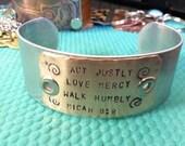 Act Justly, love mercy, walk humbly bracelet