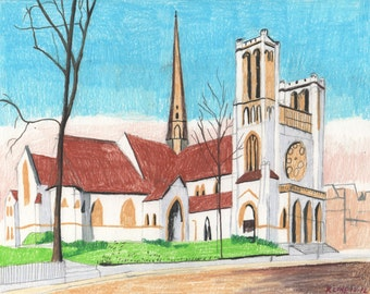 "Union Church, Worcester, Massachusetts. Colored Pencil on Paper. 10"" x 8"""