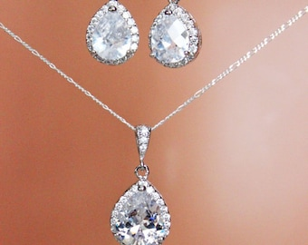 SET OF 8 - 15% off - CZ Crystal Drop Wedding Necklace and Earring Set, Bridesmaids Jewelry Gift Set, Bridal Party Jewelry Gift Set