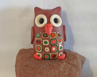 Owl Animal Totem, Polymer Clay Owl, Owl Figurine, Miniature Owl, Cute Owl, Retro Owl, Made to Order by Classon Creations