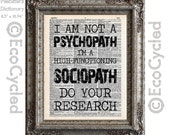 Sherlock Holmes 3 High-Functioning Sociopath Quote on Vintage Upcycled Dictionary Art Print Watson Book Lover Art Psychopath Book Art Print