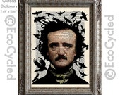 Edgar Allan Poe with Ravens Flying on Vintage Upcycled Dictionary Art Print Book Art Print Recycled Horror bookworm gift