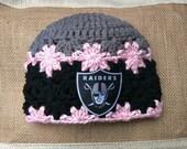 Pink Grey Black Raiders Inspired Newborn-3 month Baby Girl Beanie