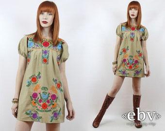 Vintage 70s Khaki Embroidered Mini Dress S M Khaki Mexican Dress Embroidered Dress Hippie Dress Hippy Dress Boho Dress Festival Dress