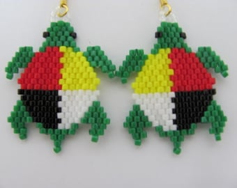 Hand Beaded Medicine Wheel turtle dangling earrings