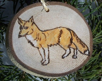 FOX | Wood Burned | ASPEN Wood Slice Ornaments