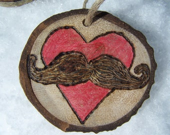MUSTACHE and heart decor | ASPEN Wood Slice Ornaments