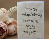 Personalised textile Wedding Anniverary card