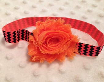 SALE... READY to SHIP... Elastic Flower Headband Orange on Black & Orange Chevron- Small