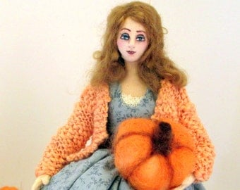 Thanksgiving art cloth doll needle felt pumpkin Autumn harvest decoration