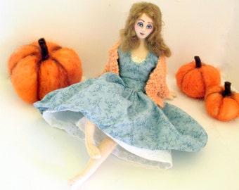 Thanksgiving art cloth doll needle felt pumpkin Autumn harvest decoration