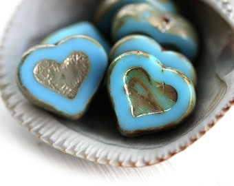 Turquoise Blue Heart beads, Picasso beads, czech glass, table cut, blue glass heart - 14mm - 6Pc - 1039