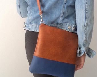 Vegan Leather Bag, Simple Crossbody Bag, Everyday Purse, Shoulder Bag, Two Tone bag