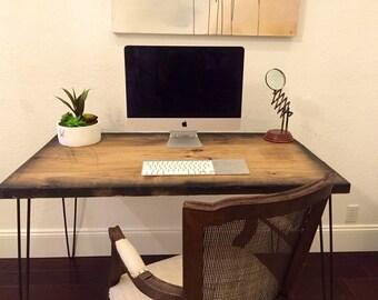 SALE! Industrial Desk With Modern Hairpin Legs - Reclaimed Wood