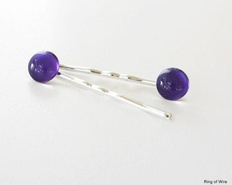Purple Hair Pins, Silver Hair Pins, Nail Polish Bobby Pins, Silver Bobby Pins, Hair Pin Set, Bridal Hair Pins, Purple Hair Accessories