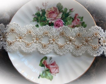 Reneabouquets Trim- 1.85 Inch Wide Elegance Lace In Ivory and Gold, Embroidery,  Venice , Bridal, Costume Design, Lace Applique, Crafting