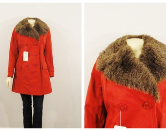 Vintage Coat Double Breasted Pea Coat 70s Miss Harwood Faux Fur Burnt Orange Deadstock NWT Sz 8 Modern Small to Medium