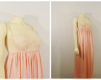 Vintage Nightgown RARE Rosa Puleo- Szule for Lily of France Pinky Peach Lace Bodice Union Made Negligee Modern XS - S