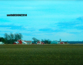 Red Farm, Photography, landscape Art, Barn Photography, Home Decor, Vinyl Wall Decal, by Abby Smith, Free Shipping