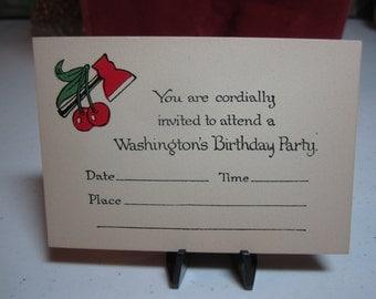 1920's-30's unused patriotic Washington's Birthday Party invitation red axe and cherry graphics
