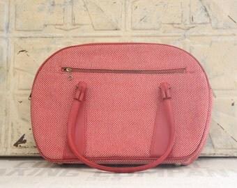 Vintage Red Tweed Ladies Tote Overnight Luggage Case Carry On