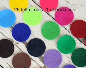 1.5 Inch Felt Circles - Die Cut Felt Circles - 26 Circles - 1 of Each Color