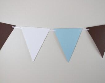 Baby shower decor, Birthday decoration, shower banner, blue, white & brown