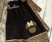 Minnie Mouse Safari Pillowcase Dress - Leopard Print and Gold Sparkle - 12 18 2 3 4 5 6 8