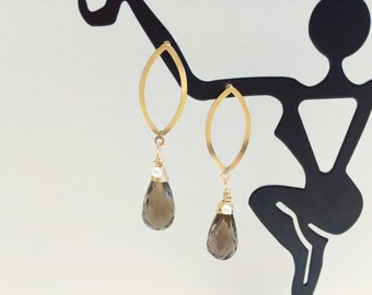 Smoky Quartz Briolette Gold Earrings - FREE SHIPPING