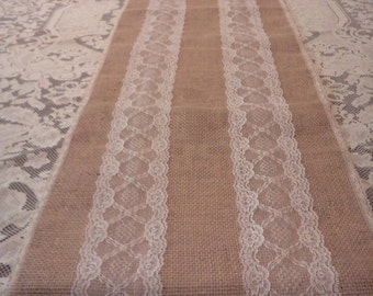 Wedding table runner tan burlap & white lace 72 inch