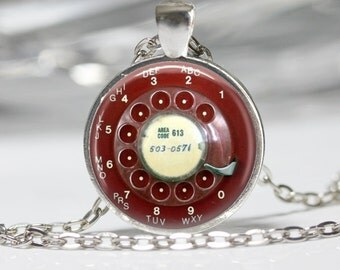 Steampunk Jewelry Steampunk Red Telephone Dial Necklace Vintage Phone