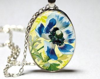 Flower Necklace Flower Glass Pendant Wearable Art For Her