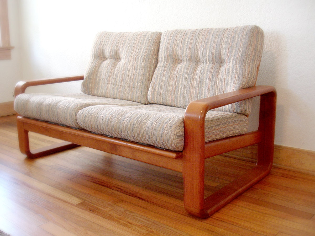 Reserved Vintage Danish Style Teak Sofa Loveseat Mid