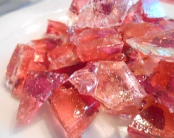 Organic, Edible Rose Petals,Sea Glass, Large Chunks, Pink Champagne, cup cake Toppers