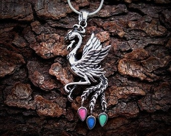 "Greek ""Arcus Iridis"" Rainbow Phoenix Mount Olympus Amulet Talisman Magick Wicca Metaphysical Reiki Fantasy Jewelry Pendant"