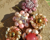 Vintage clip-on earring bracelet, Soft Pinks