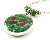 Orgone Energy Small Reversible Pendant in Silver with Malachite Gemstones - Orgone Jewelry - Artisan Jewelry