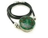 Orgone Energy Mens/Unisex Necklace - Large Double Sided Pendant - Antique Silver w/Malachite  - Leather Necklace - Artisan Jewelry