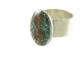 Orgone Energy Ring with Turquoise - Simple Oval Cocktail Ring - Adjustable Ring - Orgone Energy Jewelry - Artisan Jewelry