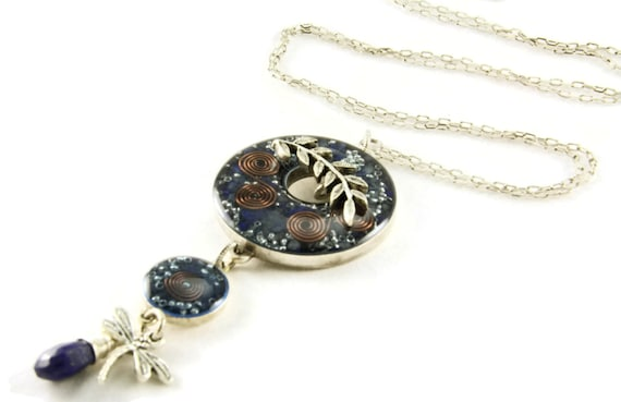 Orgone Energy Toggle Charm Necklace - Blue w/Lapis Lazuli - Antique Silver - Long Necklace - Artisan Jewelry