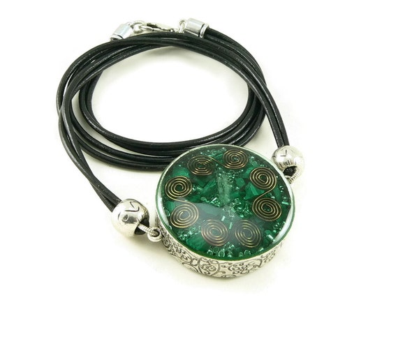 Orgone Energy Mens/Unisex Necklace - Large Double Sided Pendant - Antique Silver w/Malachite  - Leather Necklace - Artisan Jewelry