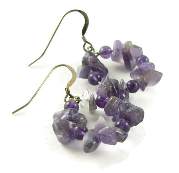 Chunky Amethyst Hoop Earrings - Sterling Silver - February Birthstone - Gemstone Earrings - Artisan Jewelry