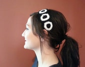 Black & White Granny Square Headband with Ties