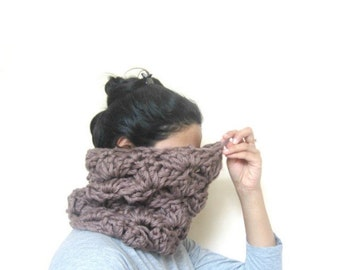 Chunky lace cowl in soft brown, Handmade, READY TO SHIP, unisex