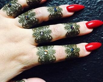 Henna tattoo rings. Set of 9