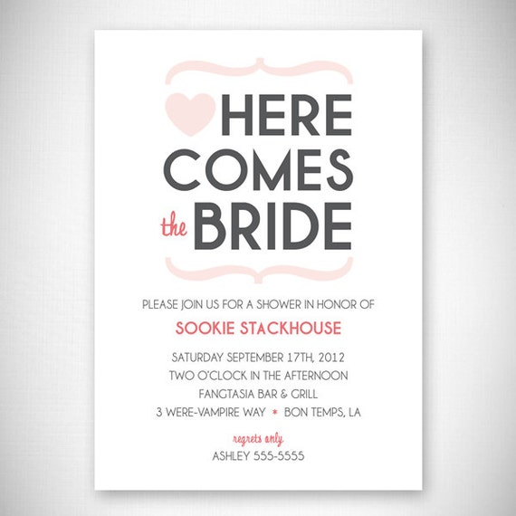 Heart Bridal Shower Invitation - DIY - Digital File - Print Your Own - JPEG - PDF